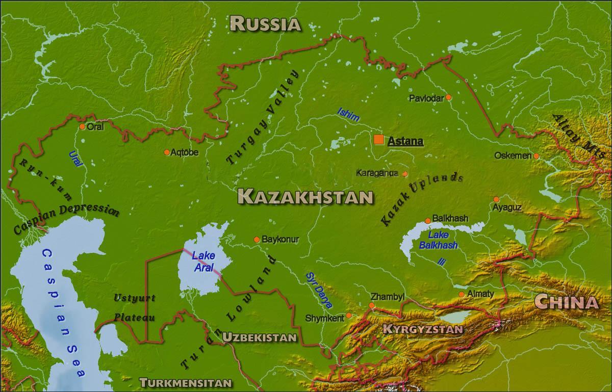 Kazakhstan physical map - Map of Kazakhstan physical (Central Asia ...