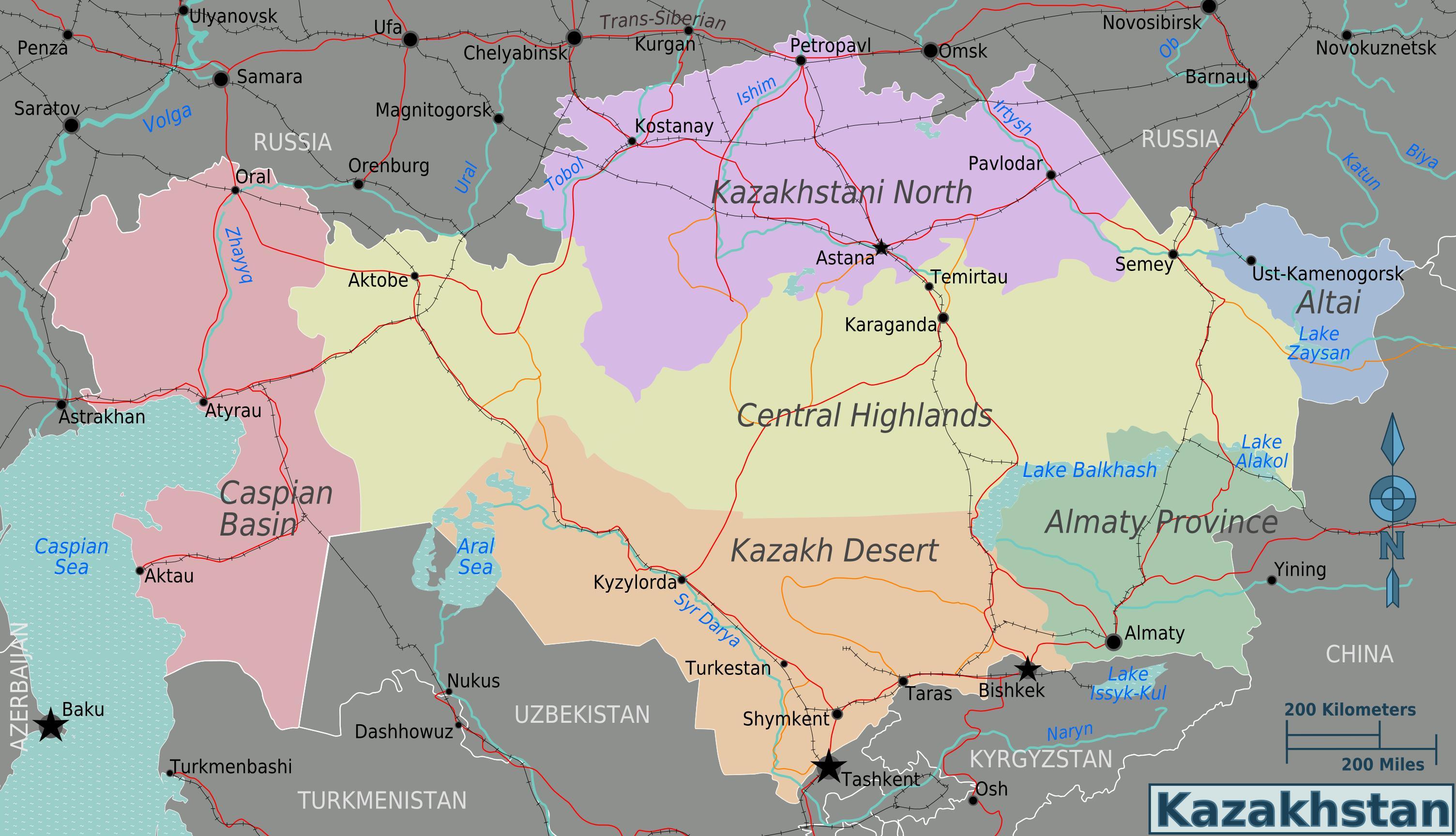 Kazakhstan regions map - Map of Kazakhstan regions (Central ...