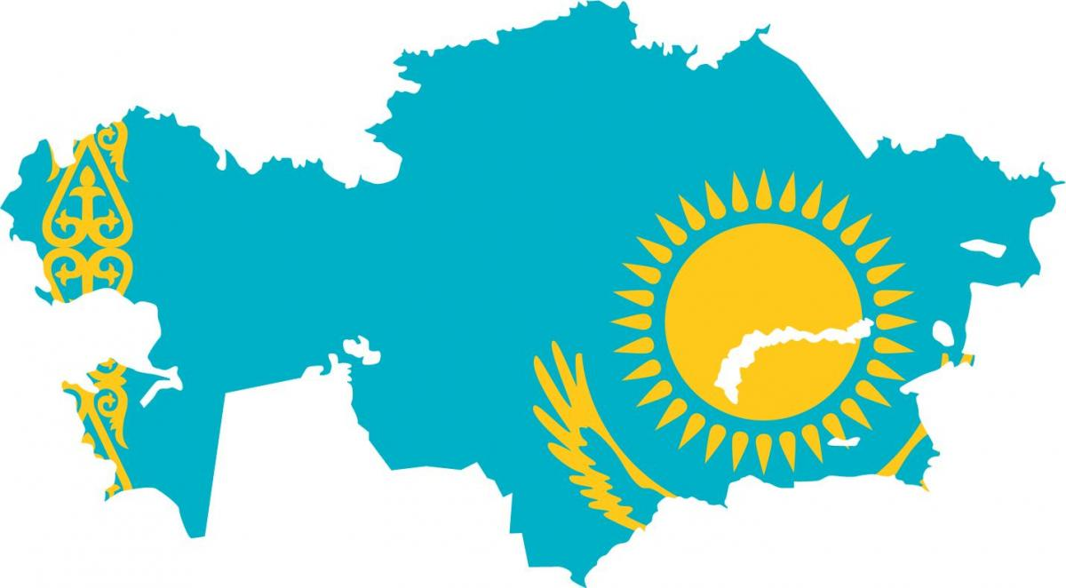 map of Kazakhstan flag