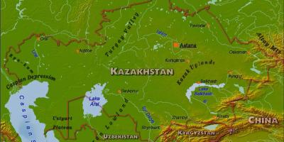 Map of Kazakhstan physical